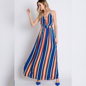 Dresses - SMALL ONLY BOLD Stripe Open Back Maxi